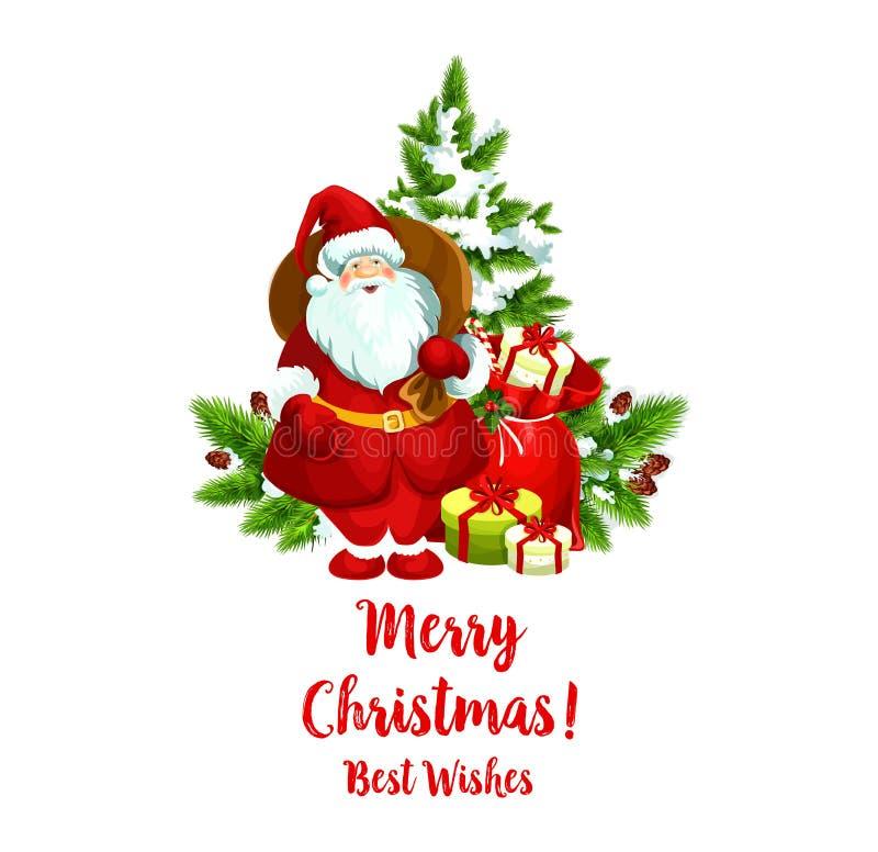 Ícone do cumprimento de Santa do vetor do Feliz Natal ilustração royalty free