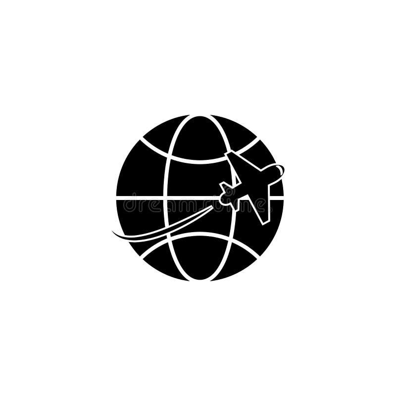 Ícone do curso do globo e do plano ilustração royalty free