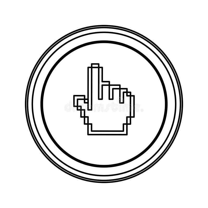 ícone do cursor da mão do rato do emblema do contorno ilustração stock