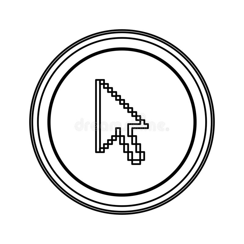 ícone do cursor do rato do emblema do contorno ilustração do vetor