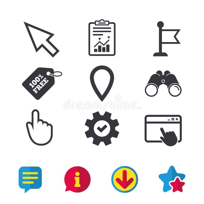 Ícone do cursor do rato Símbolos do ponteiro da mão ou da bandeira ilustração do vetor