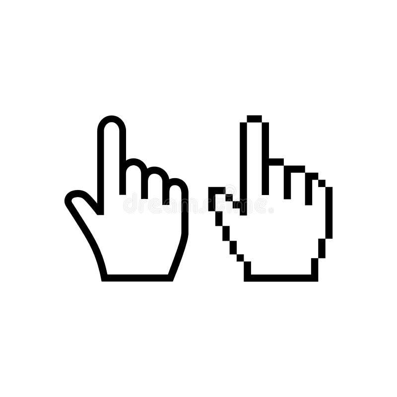 Ícone do cursor do rato da mão Ícones do cursor da mão do ponteiro ilustração stock