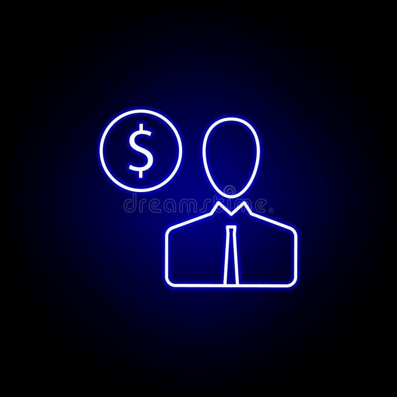 ícone do dólar do homem do usuário no estilo de néon Elemento da ilustra??o da finan?a Os sinais e o ?cone dos s?mbolos podem ser ilustração stock