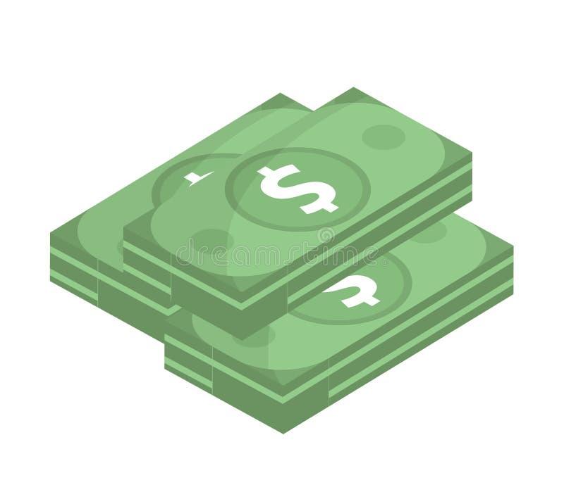 Ícone do dólar, projeto liso Dólares do dinheiro isolados no fundo branco Ilustração do vetor, clipart ilustração royalty free