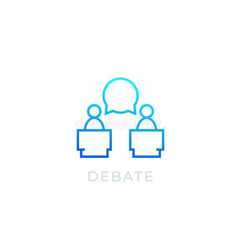 Ícone do debate, linha vetor ilustração stock