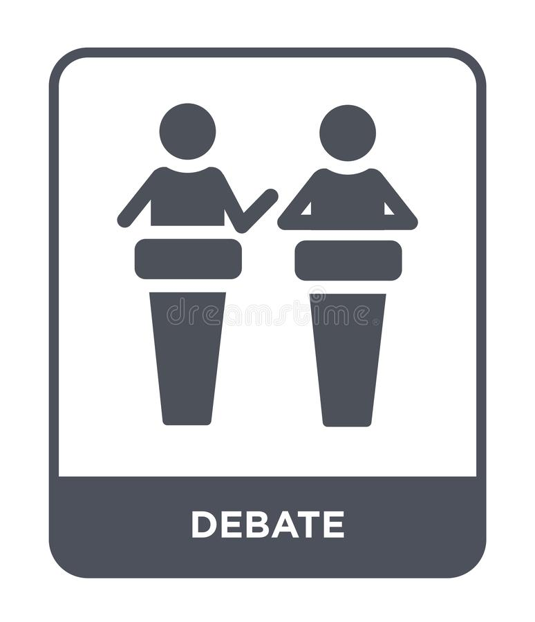 ícone do debate no estilo na moda do projeto ícone do debate isolado no fundo branco símbolo liso simples e moderno do ícone do v ilustração stock