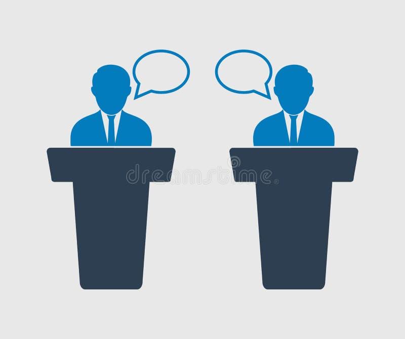Ícone do debate no fundo cinzento ilustração do vetor