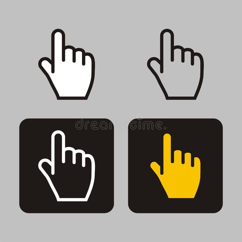 Ícone do dedo, cursores ilustração do vetor