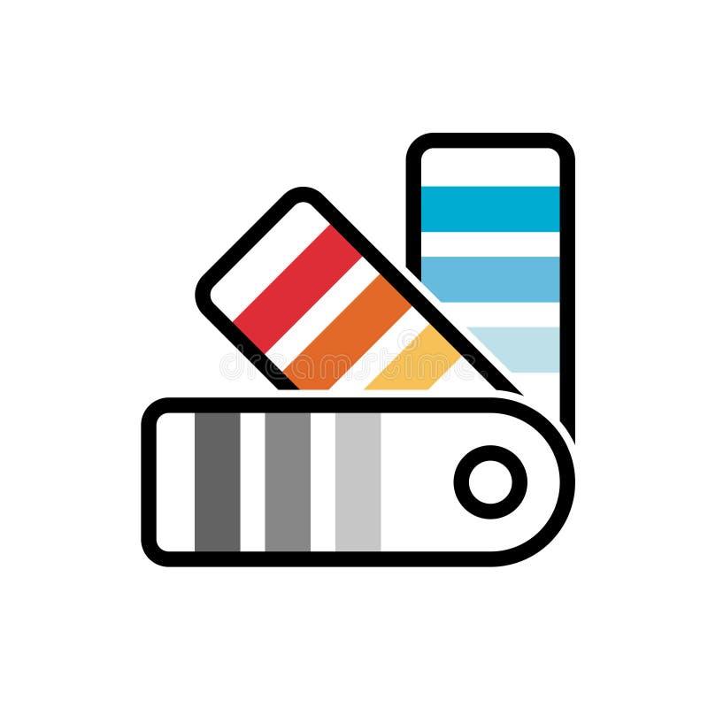Ícone do demonstrador da máquina desbastadora do guia da paleta de cores ilustração stock