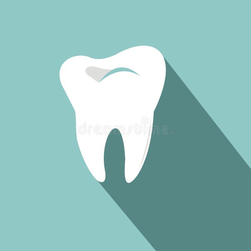 Ícone do dente com sombra longa Estilo liso do projeto Silhueta do dente ilustração stock