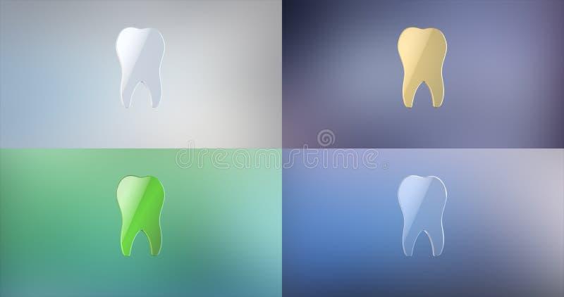 Ícone do dente 3d ilustração stock