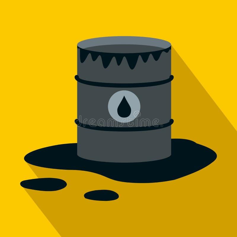 Ícone do derramamento do tambor e de óleo, estilo liso ilustração stock