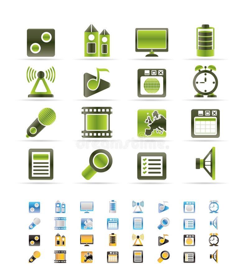 Ícone do desempenho, do Internet e do escritório do telefone móvel ilustração stock