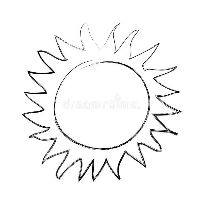 Ícone do desenho do sol do verão ilustração do vetor