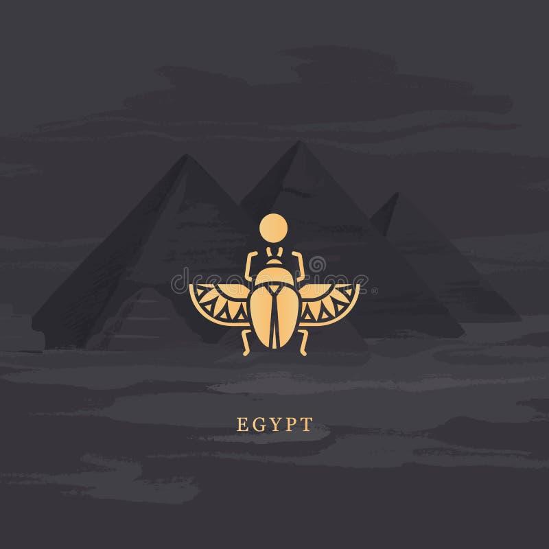 Ícone do desenho do vetor do besouro egípcio do escaravelho, personificando o deus Khepri ilustração do vetor