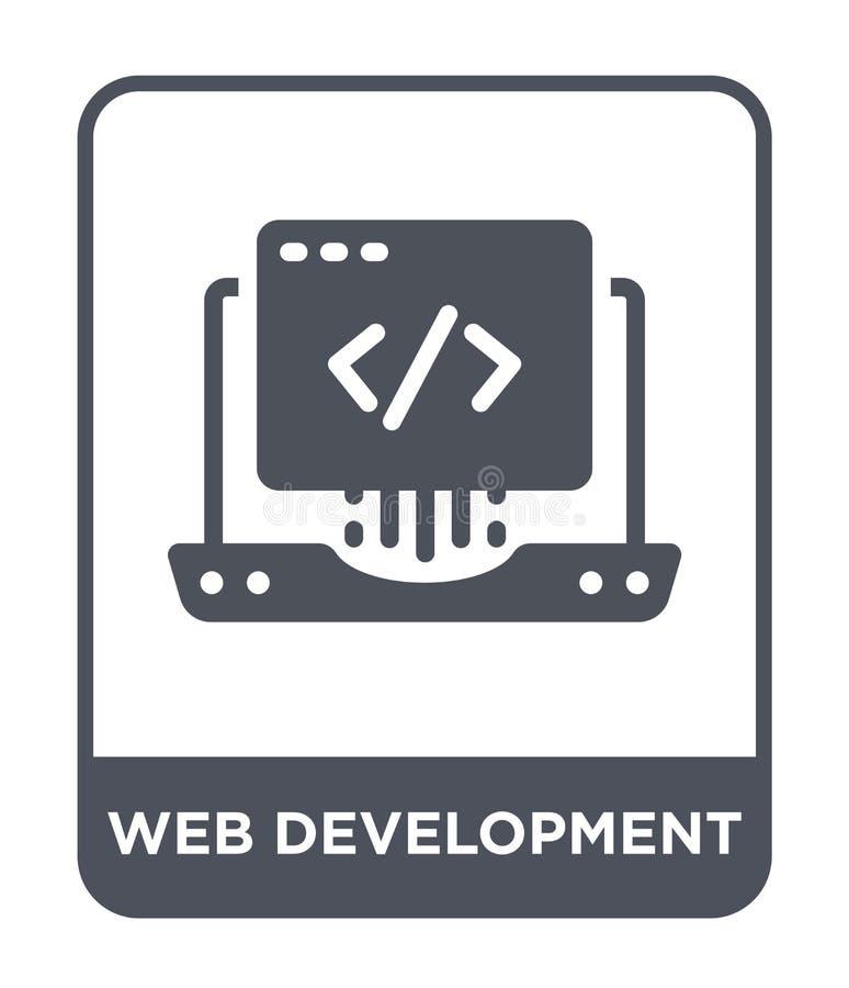 ícone do desenvolvimento da Web no estilo na moda do projeto ícone do desenvolvimento da Web isolado no fundo branco ícone do vet ilustração stock