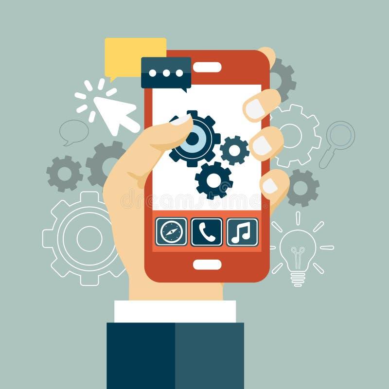 Ícone do desenvolvimento de aplicações Conceito a construir o negócio bem sucedido Telefone celular e engrenagens na tela Vetor l ilustração stock