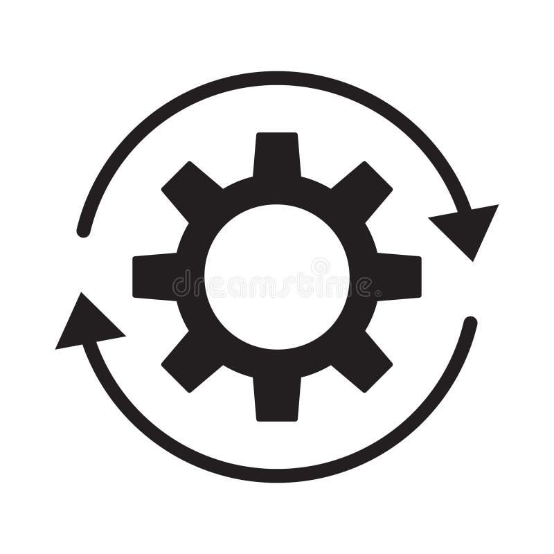 Ícone do desenvolvimento Ícone do processo dos trabalhos no estilo liso Roda da roda denteada da engrenagem com ilustração do vet ilustração royalty free