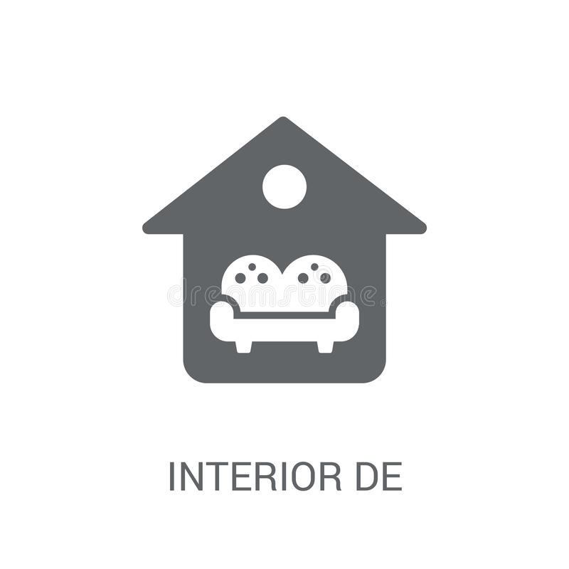 Ícone do design de interiores Conceito na moda do logotipo do design de interiores no whi ilustração stock