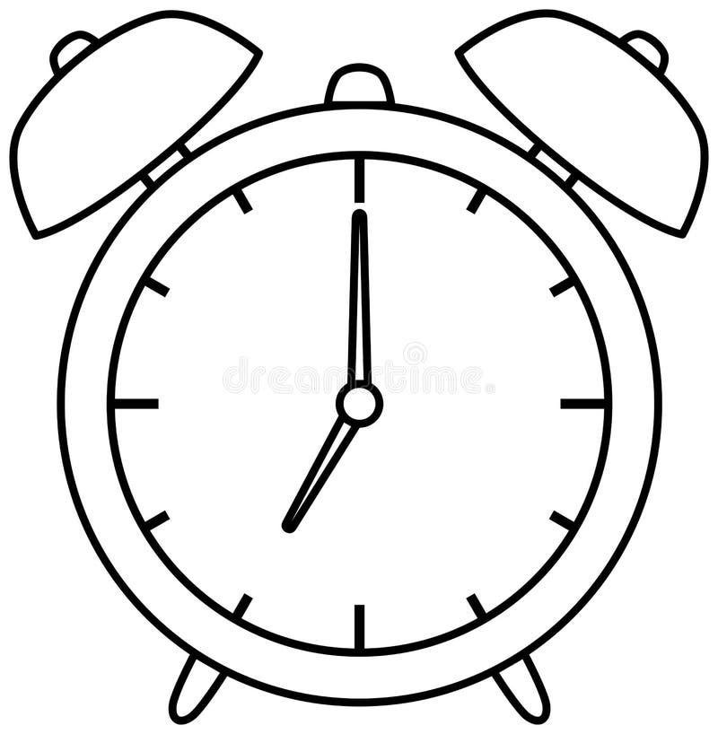 Ícone do despertador Ilustração do vetor do esboço Livro de coloração ilustração royalty free