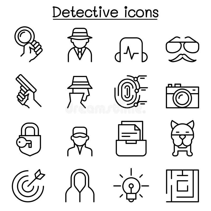 Ícone do detetive ajustado na linha estilo fina ilustração stock