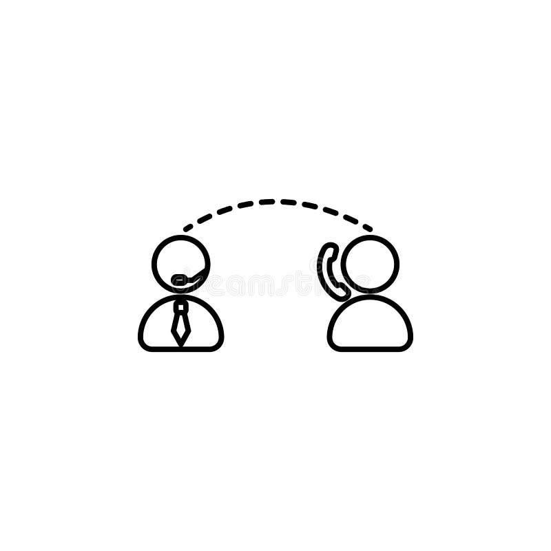 Ícone do diálogo do cliente e do operador Elemento do ícone da telecomunicação para apps móveis do conceito e da Web Linha fina c ilustração do vetor