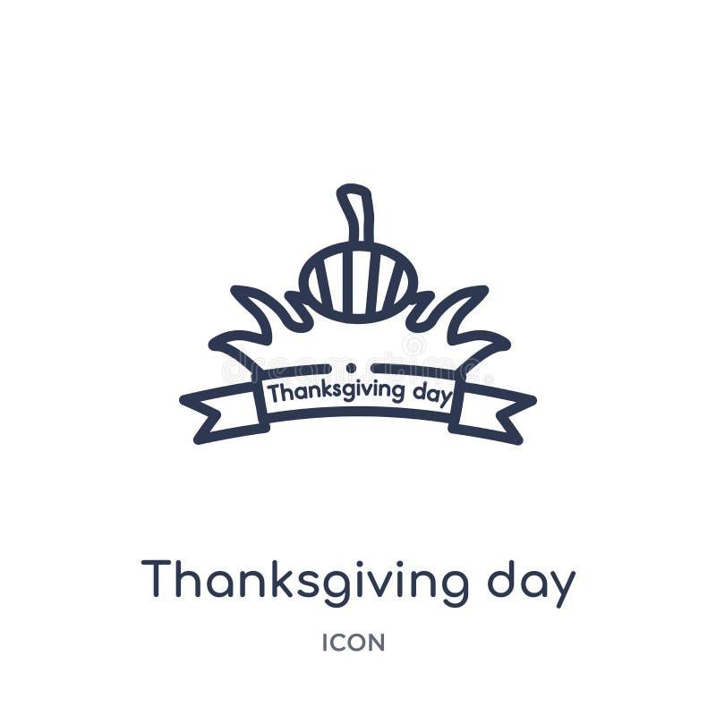ícone do dia da ação de graças da coleção do esboço de Estados Unidos da América Linha fina ícone do dia da ação de graças isolad ilustração do vetor