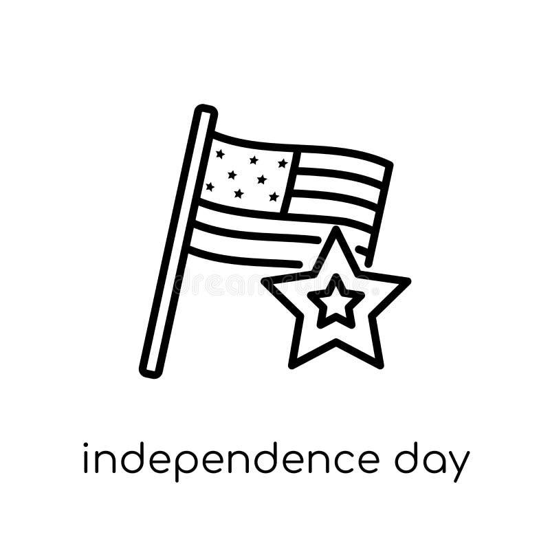 Ícone do Dia da Independência Vetor linear liso moderno na moda Independ ilustração stock