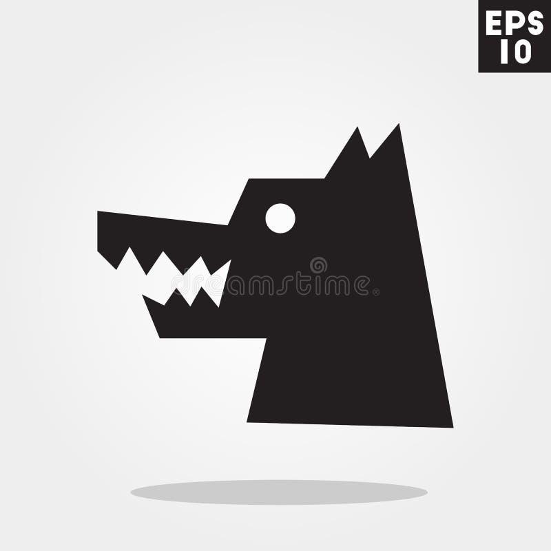 Ícone do Dia das Bruxas do homem-lobo no estilo liso na moda no fundo cinzento Símbolo para seu projeto, logotipo do horror, UI ilustração do vetor