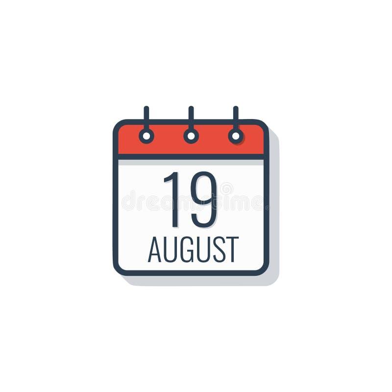 Ícone do dia de calendário isolado no fundo branco 19 de agosto ilustração stock