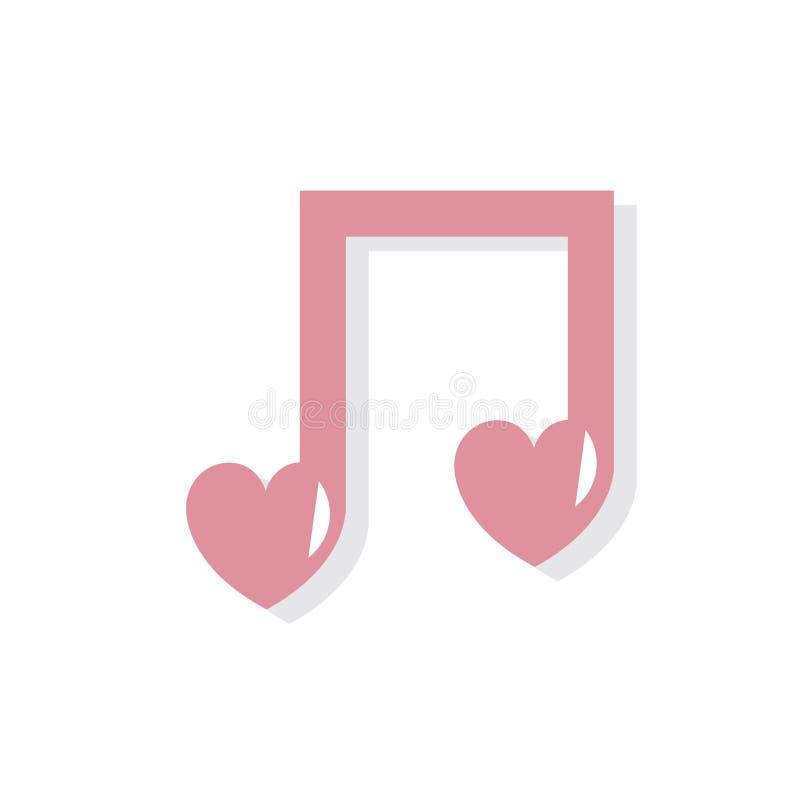 Ícone do dia de Valentim de música de amor ilustração do vetor