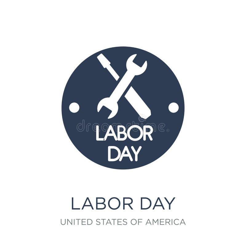 Ícone do Dia do Trabalhador Ícone liso na moda do Dia do Trabalhador do vetor no backg branco ilustração royalty free