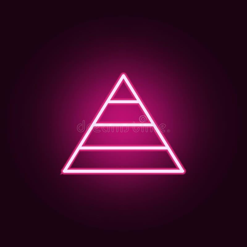 Ícone do diagrama da pirâmide Elementos da Web nos ícones de néon do estilo Ícone simples para Web site, design web, app móvel, g ilustração do vetor