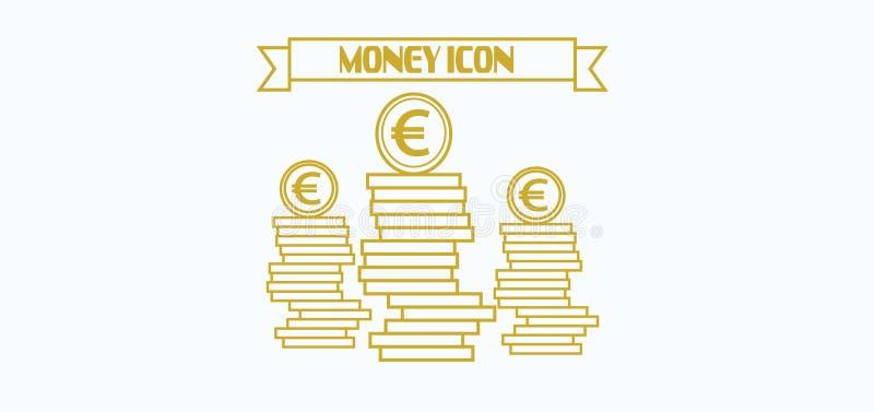 Ícone do dinheiro com euro- símbolo de moeda com as moedas sobre o fundo branco, nos esboços ilustração royalty free