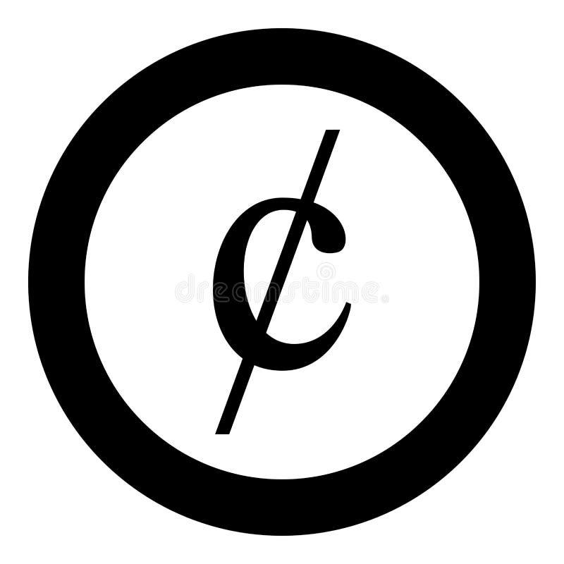 Ícone do dinheiro do dollor do sinal do símbolo do centavo da ilustração preta redonda do vetor da cor do círculo na imagem  ilustração do vetor