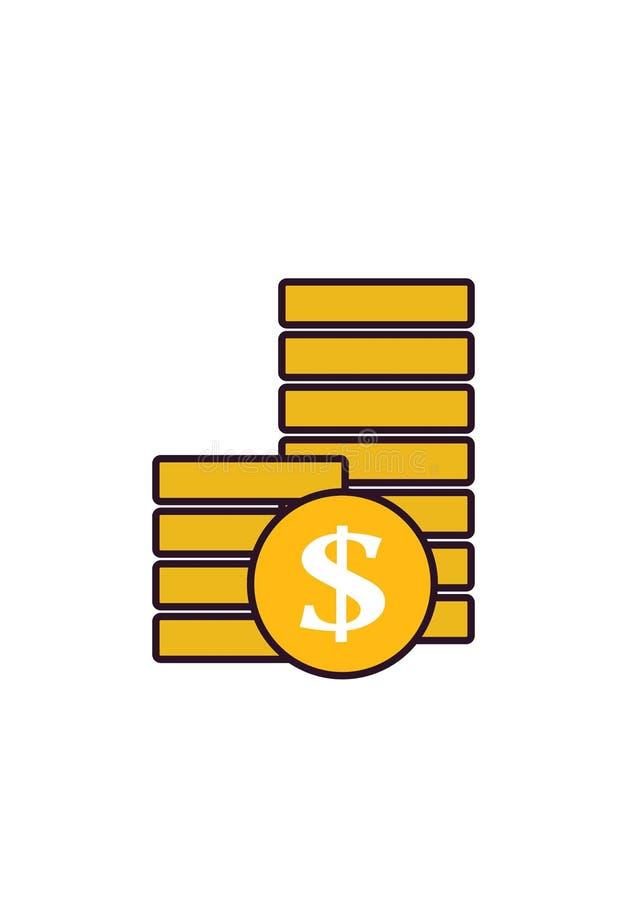 Ícone do dinheiro - pilha da imagem isolada moedas ilustração do vetor