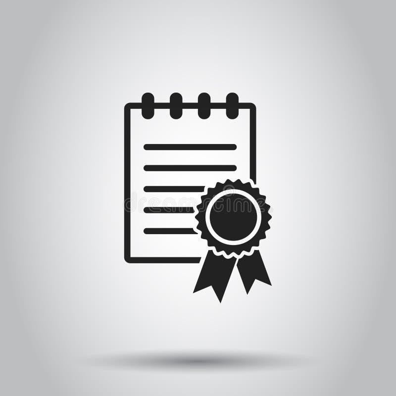 Ícone do diploma do certificado Ilustração do vetor no backgr isolado ilustração royalty free