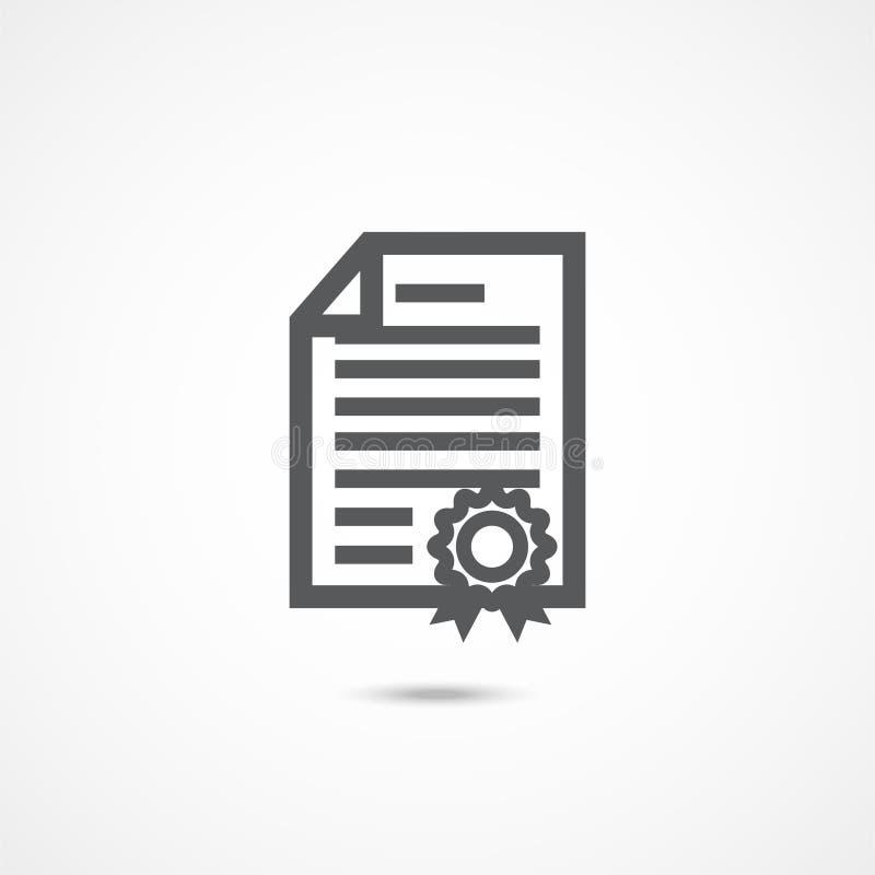 Ícone do diploma no branco ilustração stock