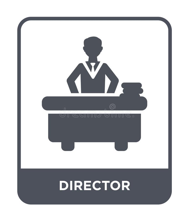 ícone do diretor no estilo na moda do projeto Ícone do diretor isolado no fundo branco plano simples e moderno do ícone do vetor  ilustração royalty free