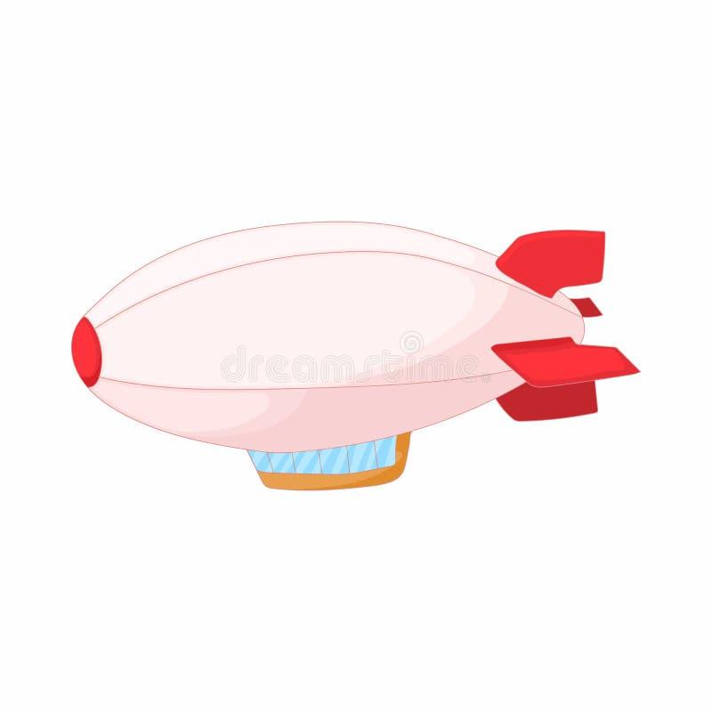 Ícone do dirigível no estilo dos desenhos animados ilustração stock