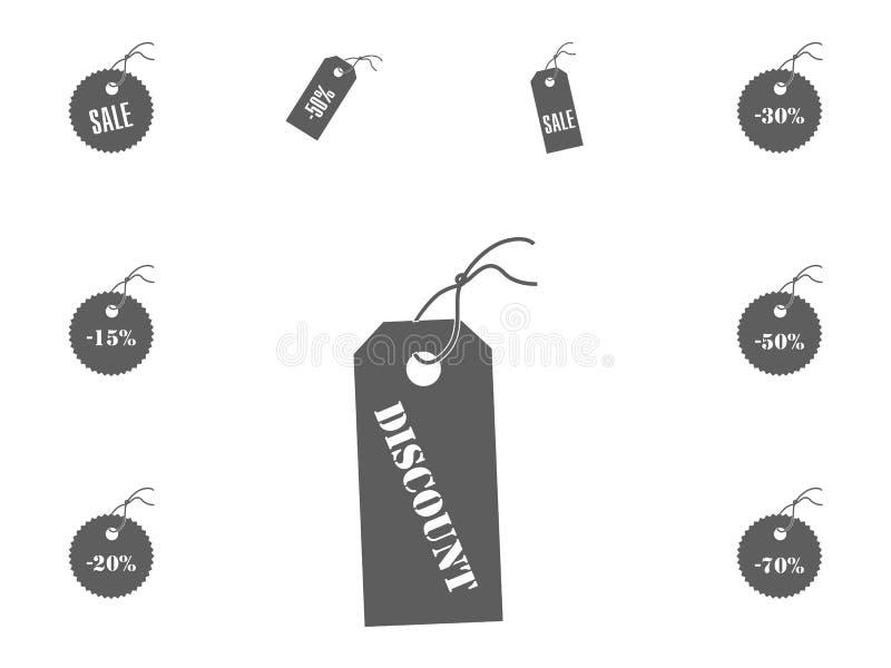 Ícone do disconto Ícones da ilustração do vetor da venda e do disconto ajustados fotografia de stock