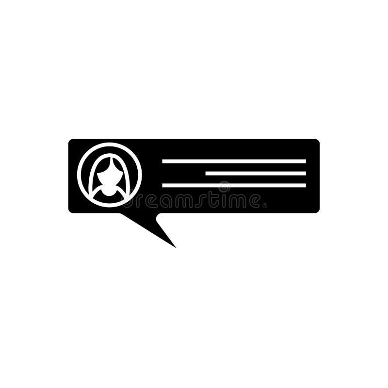Ícone do discurso do Glyph S?mbolo do bate-papo Di?logo, conversando, uma comunica??o ilustração royalty free