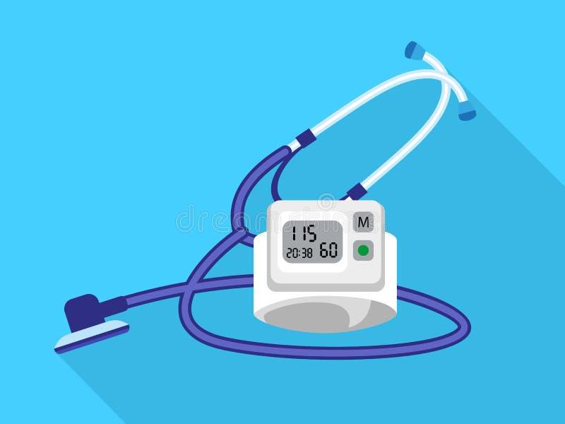 Ícone do dispositivo do presure do sangue do estetoscópio, estilo liso ilustração royalty free