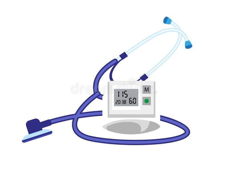 Ícone do dispositivo do presure do sangue do estetoscópio, estilo liso ilustração stock