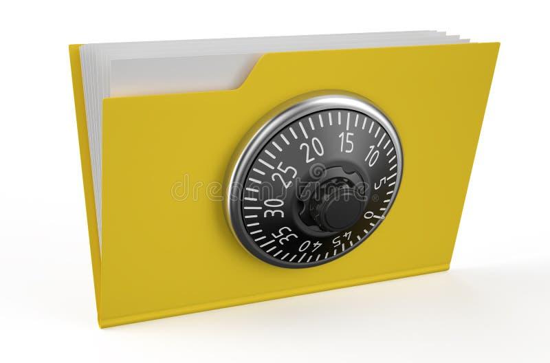 Ícone do dobrador com fechamento de combinação ilustração stock
