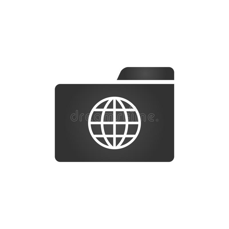 Ícone do dobrador com o ícone do globo no estilo liso na moda isolado no fundo branco, para seu projeto da site, app, logotipo, U ilustração royalty free
