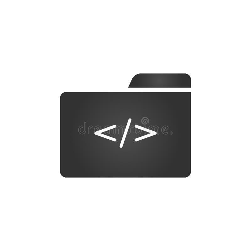 Ícone do dobrador com símbolo da codificação no estilo liso na moda isolado no fundo branco, para seu projeto da site, app, logot ilustração do vetor