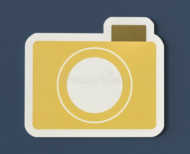 Ícone do dobrador de papel amarelo da câmera fotografia de stock