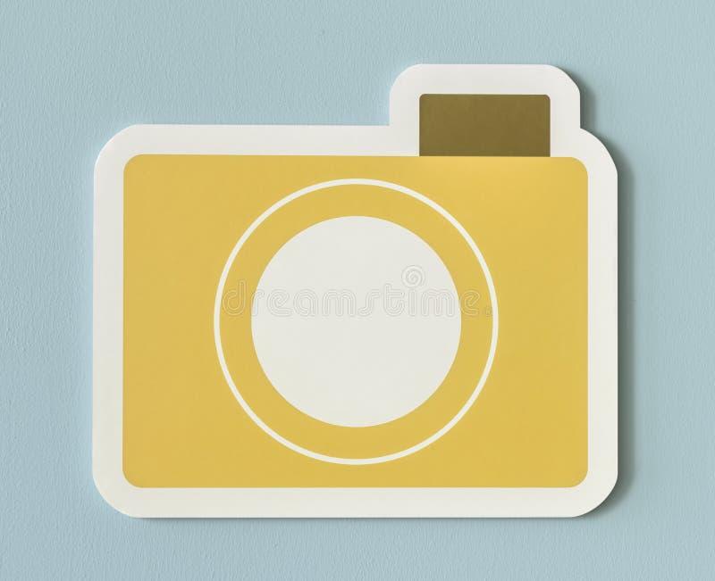 Ícone do dobrador de papel amarelo da câmera imagens de stock