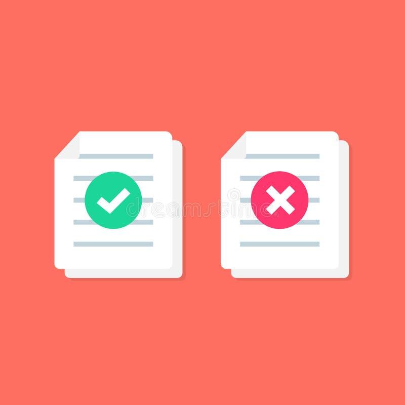 Ícone do documento ou o de papel com marca de verificação sinais transversais Símbolos SIM e NÃO Arquivo da rejeição Aceite o doc ilustração stock